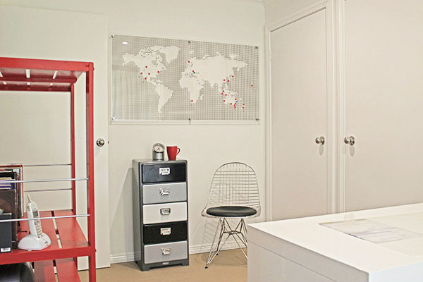 World map in home office design