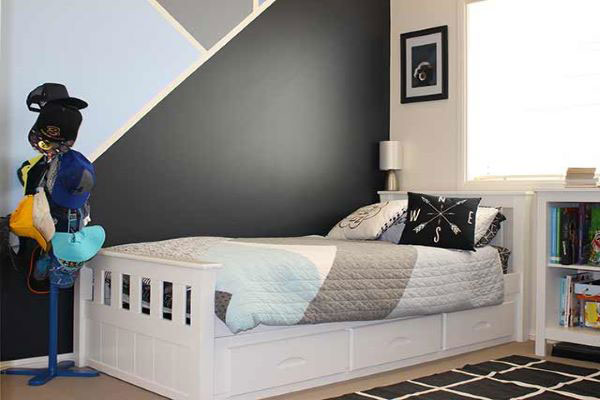 Boys bedroom with painted geometric shaped wall art
