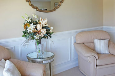 Wall treatments: Wainscoting in formal living room